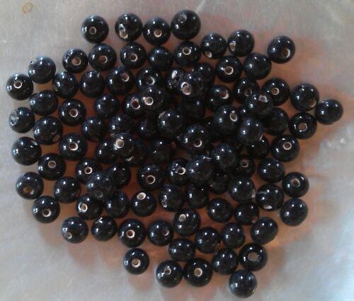 100 perles de verre artisanal 4 mm environ noir brillant