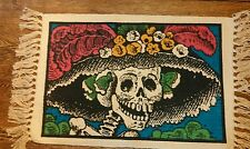 Day of the Dead Catrina Placemats Candle Mat Skull Dia de los Muertos Turquoise