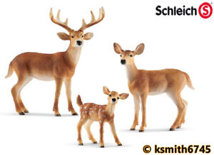 Schleich WHITE TAIL DEER /& FAWN plastic toy wild zoo Woodland animal  NEW