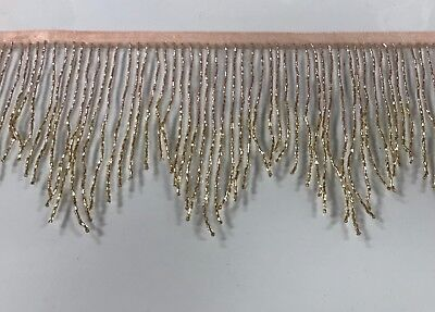"""By yard-6/"""" ROSE GOLD//GOLD Ombré Glass BUGLE Beaded Fringe CHEVRON Costume Trim"""