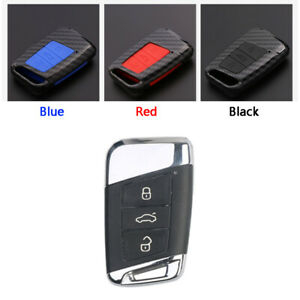 Carbon-Fiber-Design-Shell-Silicone-Cover-Holder-Fob-Case-For-VW-Remote-Key-B