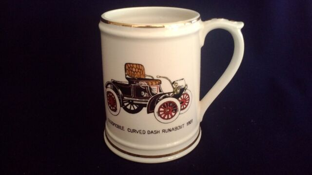 Vintage car ceramic beer stein mug 1901 OLDSMOBILE auto JAPAN china cup mantique