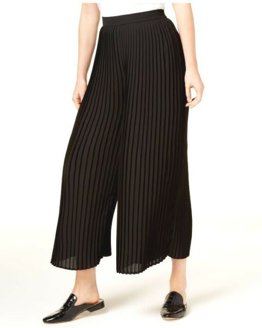 07bf5417b1 Eileen Fisher Womens Black Knife Pleated Cropped Wide Leg Pants S ...