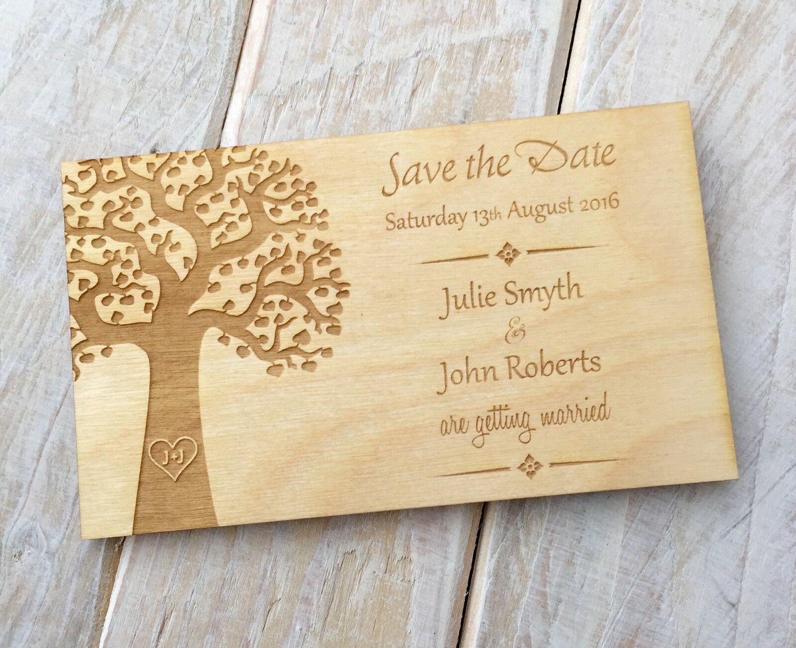 Rustic Vintage Wooden Save the Date Wedding Invitations Magnets Tree Style