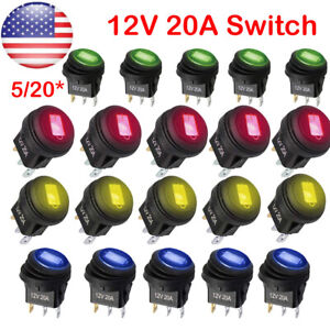 5* 12V 20A Red LED Light Rocker Toggle Switch SPST ON-OFF Car Truck US Local