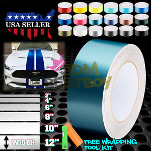 Satin Chrome Metallic Matte Racing Stripes Vinyl Wrap Rally Sticker 10//20 Feet