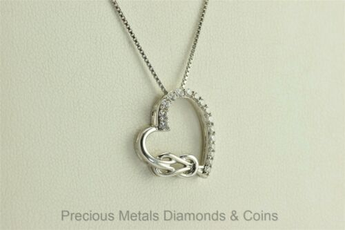 24mm x 19mm Solid 925 Sterling Silver CZ Cubic Zirconia Heart Cat Silhouette Pendant Charm
