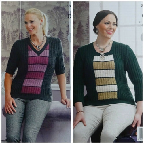 KNITTING PATTERN Ladies Striped Jumpers inc plus sizes DK King Cole 3877