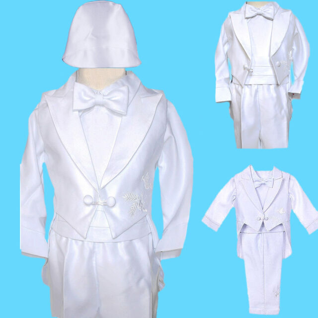 New White Infant Boy Toddler Baby Christening Baptism Outfit Suit XS-XL (0-24M)