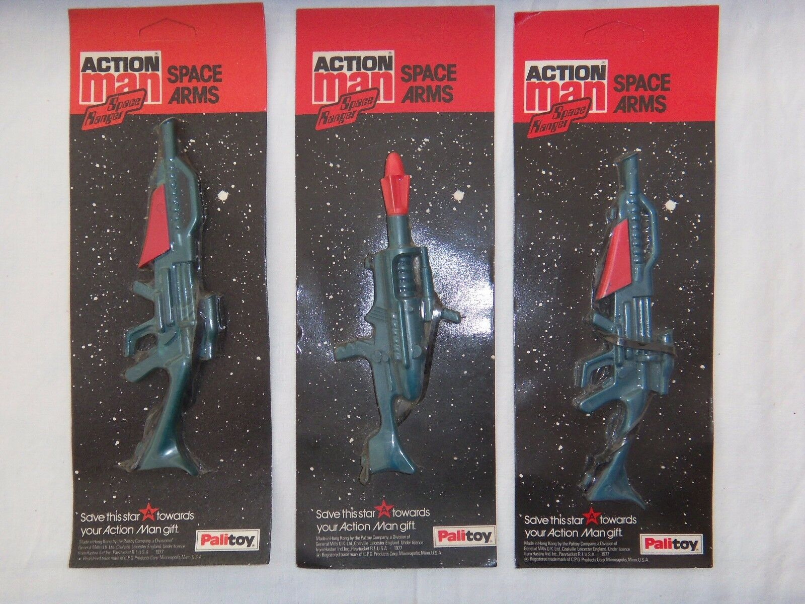 3 Vintage Action Man Space Arms Collection MOC Unpunched