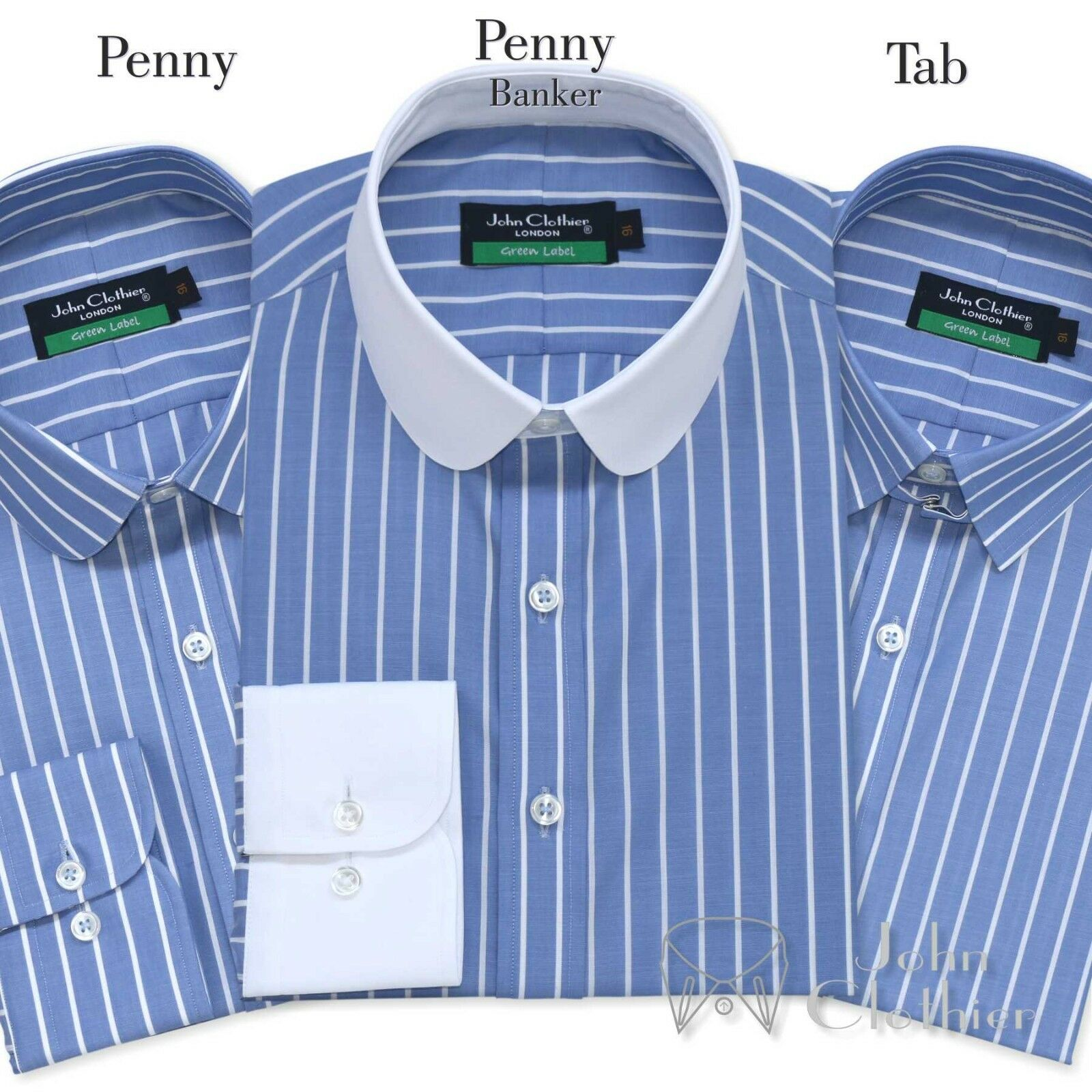 Herren Cotton shirt Penny collar Tab collar Blau Weiß stripes Club Loop for Gents