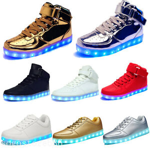 Unisex LED Light Up shoes Luminous High Top Sneakers Sportswear Men ... cbf34f6ffb