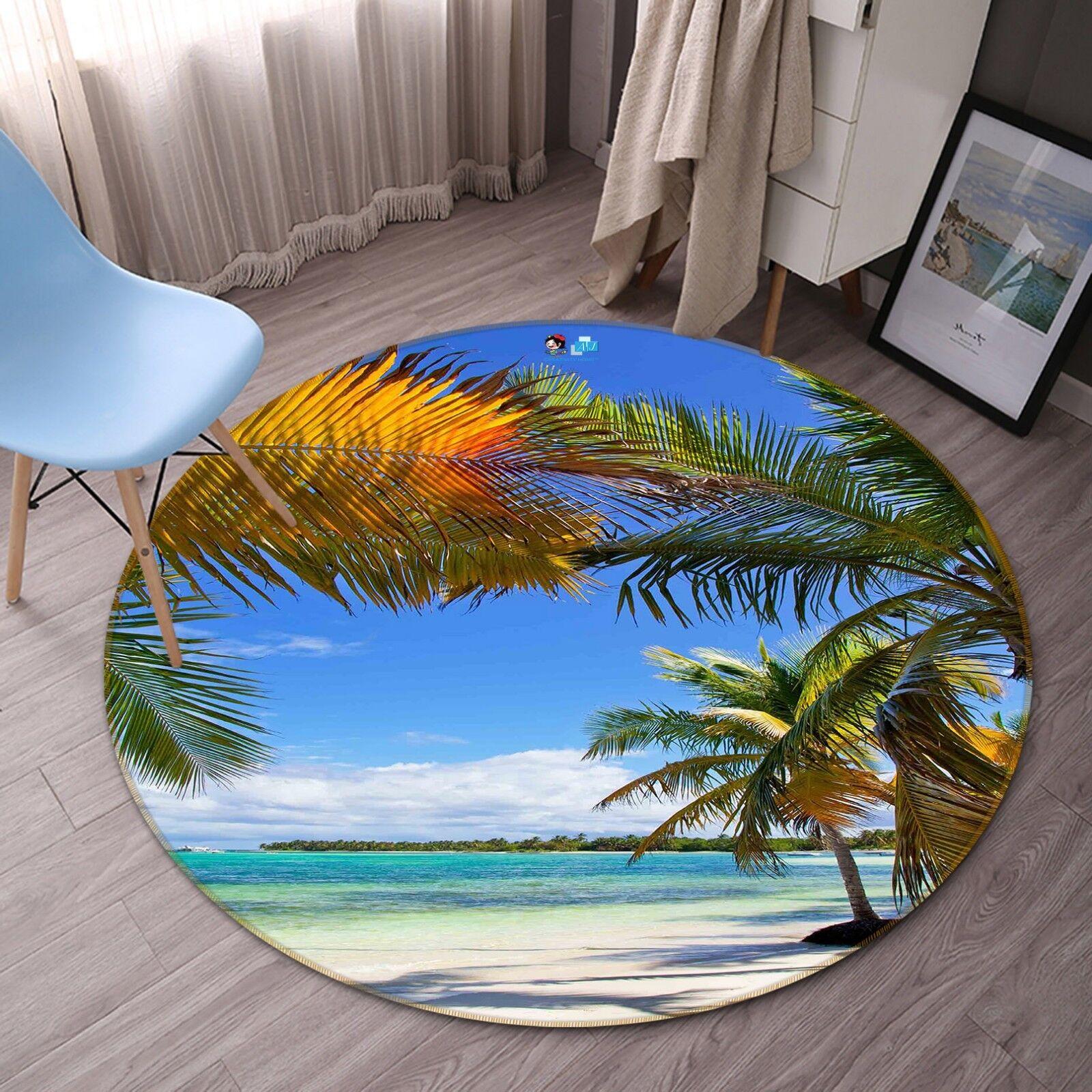 3D Beach Trees 113 Non Slip Rug Mat Room Mat Round Quality Elegant Carpet AU