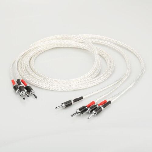 Pair HI-End 8AG silver Plated HIFI amplifier speaker cable Audiophille speaker