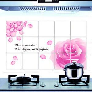 Pink Flower Kitchen Wall Sticker Waterproof Bathroom Tile Home Decor Sticker