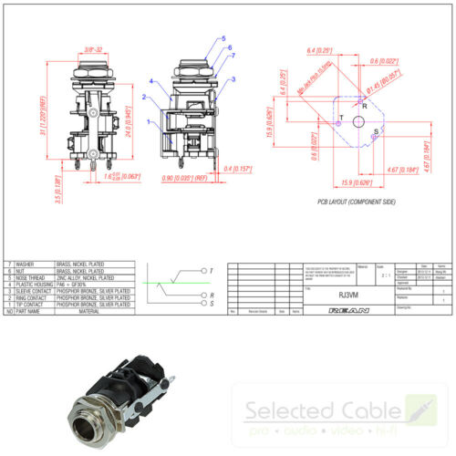 REAN by Neutrik 6,3mm Klinke 3-pol Einbaubuchse TRS vertikal PCB stereoRJ3VM