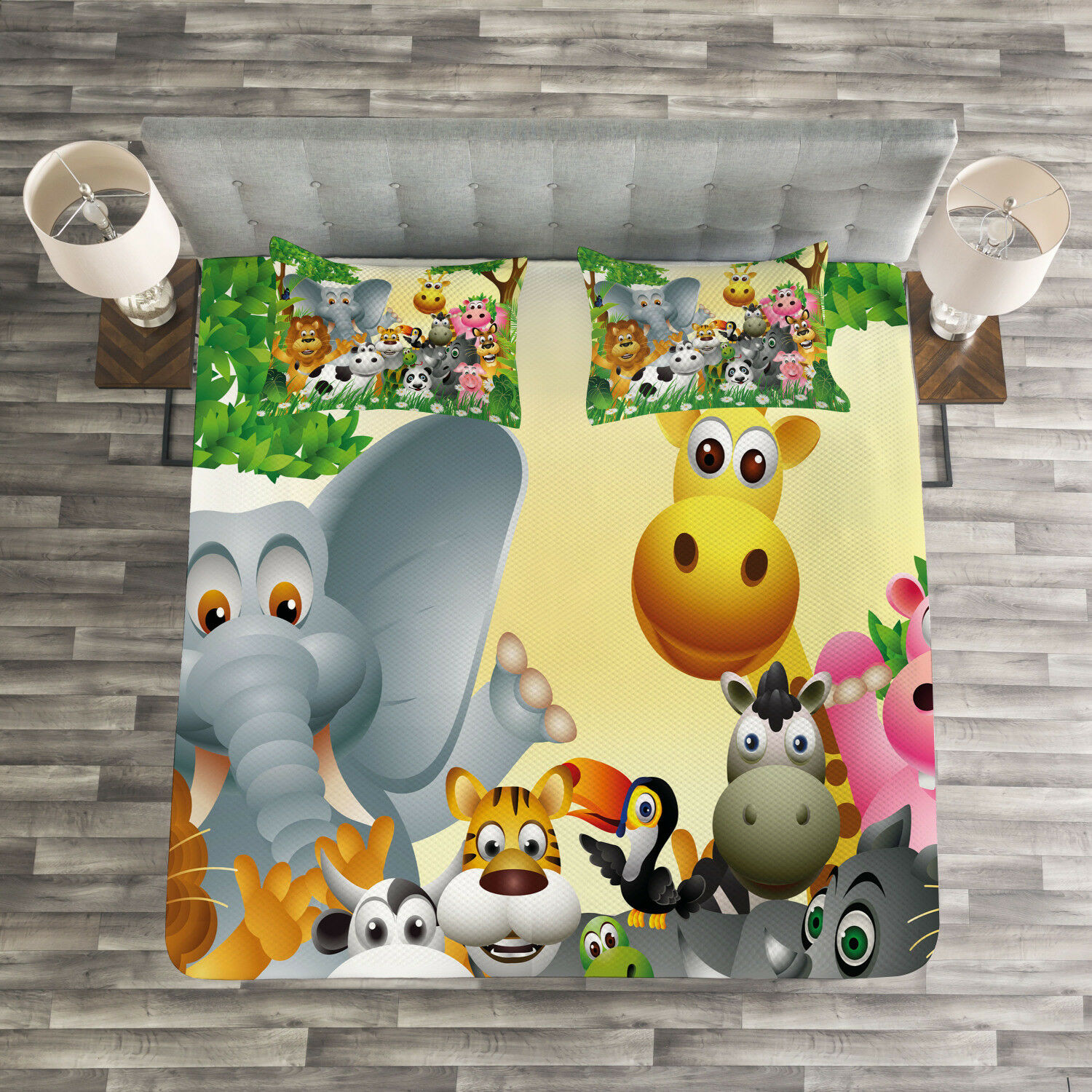 Kids Quilted Bedspread & Pillow Shams Set, Cute Animals Jungle Print