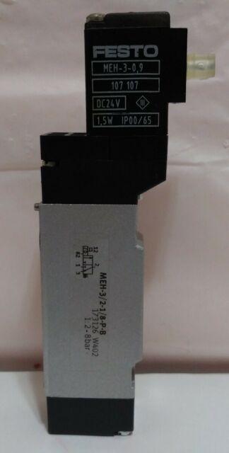 Festo MEH-3//2-1//8 Pneumatic Compressed Air Solenoid Valve Manifold 24VDC 1,5W