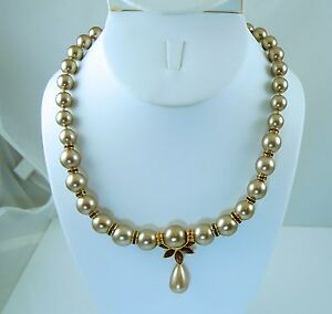 Nolan-Miller-Champagne-Simulated-Pearl-Necklace-with-Topaz-Crystals-amp-Earrings