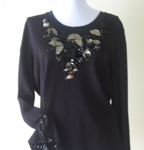 damen Knit Blouse By Philippe Carat Größe XXXL schwarz Farbe