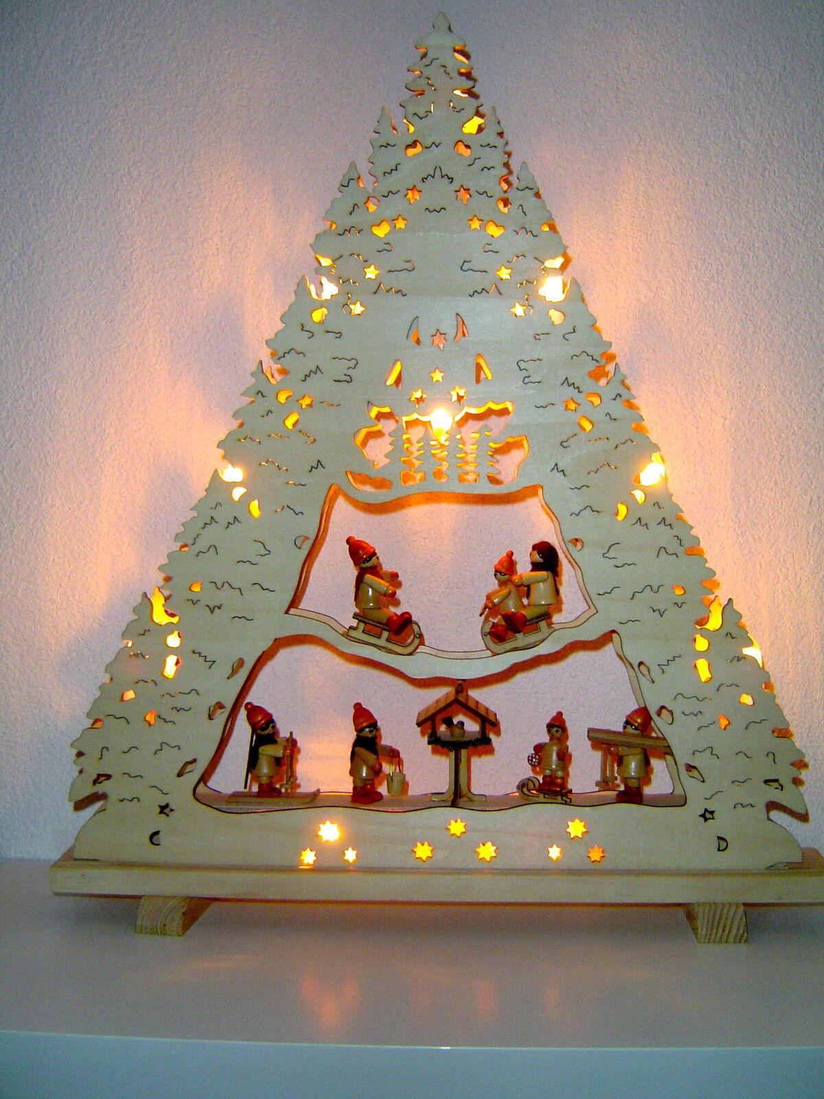 Schwibbogen lumières pointe Lumières Arc 3d hiver enfants oiseau alimentation 10109