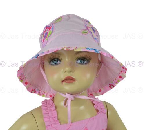 Girl Kids Toddler Baby Cotton Floral Flower Bucket Sun Hat Adjustable Chin Strap