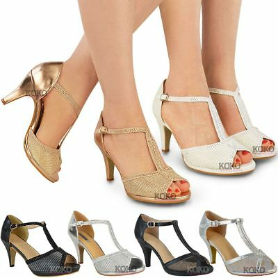 Womens Ladies Wedding Bridal Shoes Prom High Heel Diamante Party Sandals Size | eBay