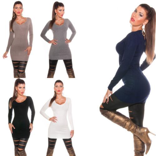 Damen Long Pullover Pulli Cut out Kleid Feinstrick Sweater Reißverschluss 34 36