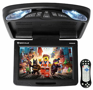 "Rockville RVD12HD-BK 12"" Black Flip Down Car Monitor DVD/USB/SD Player + Games"