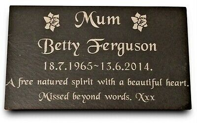 """Personalised Engraved Slate Memorial Headstone Grave Marker Plaque 7 x 4/"""""""