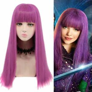 Girls Kids Child Descendants 2 Mal Cosplay Wig Long Purple Dress Up Costume Wigs