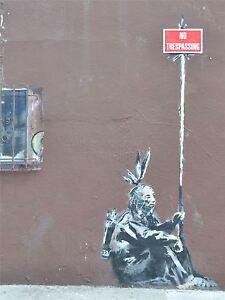 PRINT-PHOTO-GRAFFITI-STREET-BANKSY-NO-TRESPASSING-NATIVE-AMERICAN-NYC-NOFL0375