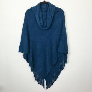 Chico-039-s-Blue-Ribbed-Fringe-Knit-Poncho-Sweater-One-Size