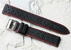 Red-Stripes-black-leather-perforated-18mm-racing-watch-band-with-red-accents