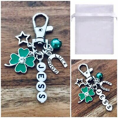 charm Clover Horseshoe gift friend Keepsake with tag GOOD LUCK keyring
