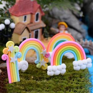 4x-Rainbow-Fairy-Garten-Micro-Landschaft-Miniatur-Fee-Garten-Dekorationen-LD