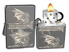 Zippo Lighter 28961 Black Ice Gothic Dragon Anne Stokes Windproof Pocket New