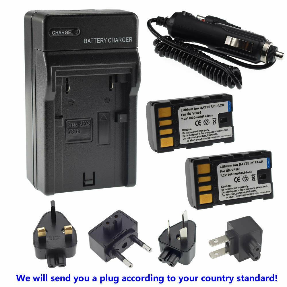 2X BN-VF808 BN-VF808U Battery+ Charger for JVC Everio GZ-MG330 GZMG330 Camcorder