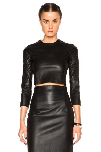 Véritable peau d/'agneau cuir crop top shirt long à manches courtes fermeture éclair arrière ajusté femmes