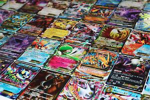FREE TIN Pokémon TCG 100 Card Lot Com//Unc Full Art GX Guaranteed EX Holo Rare