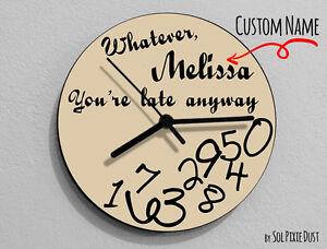 I/'m late anyways Pink Wall Clock Custom Name Whatever