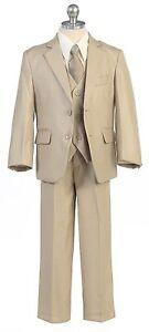 Boys Toddler Kid Teen 5-PC Wedding Formal Party Suit Tuxedo w/vest Beige sz 2-20