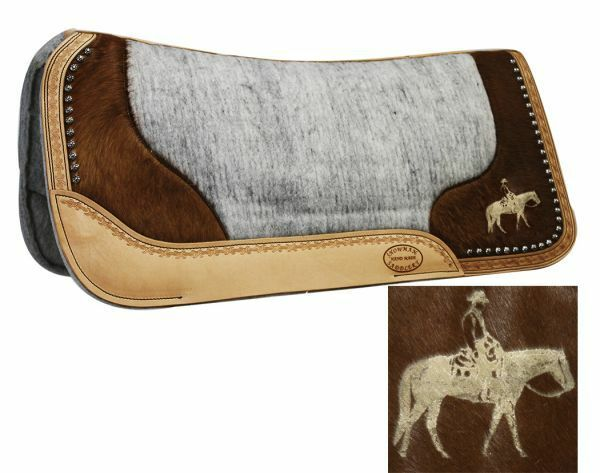 Showman Laser Etched PLEASURE HORSE Hair On Cowhide 32 x31 x1  Vented SADDLE PAD