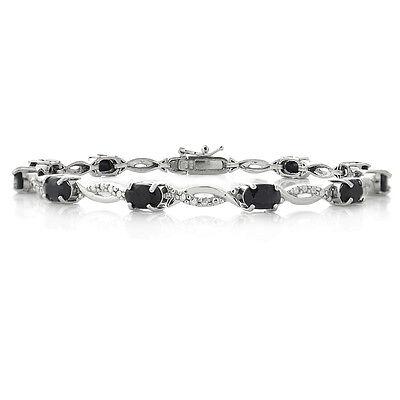 925 Silver 6 CARAT Sapphire & Diamond Accent Swirl Bracelet