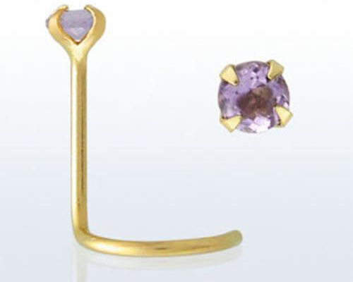 14kt Gold Small Fashionable 22g 0.6mm Nose Piercing Screw Stud w/ Stone Amethyst