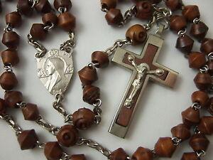 Vintage-Catholic-Rosary-Brown-Bicone-Carved-beads-Bakelite-metal-Crucifix-France