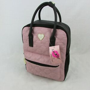 Betsey-Johnson-Backpack-Black-amp-Pink-Stitch-Bow-Pattern-Handle-88-Retail-LBBECK