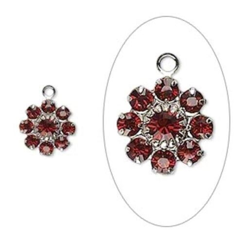 2 Silver Plated Brass 10mm Flower Charms with Siam Red Swarovski Crystals *