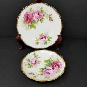 Set-of-2-Royal-Albert-American-Beauty-Saucers-Bone-China-Made-In-England
