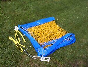 Beach-Volleyball-Netz 9,5 m x 1 m, gelb, Stahlseil 3 mm, knotenlos, Netzspanner
